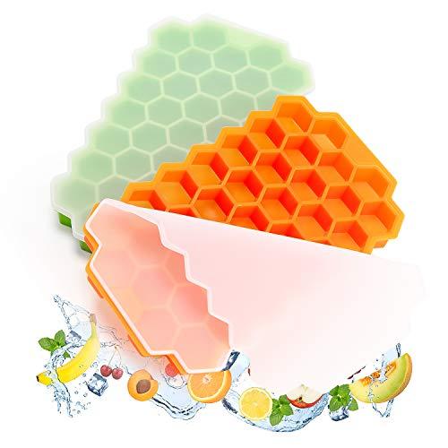 Stampo Ghiaccio Silicone con Coperchio - 2 vassoi per Cubetti di Ghiaccio in Silicone di Grado Alimentare, Stampo Ghiaccio senza BPA