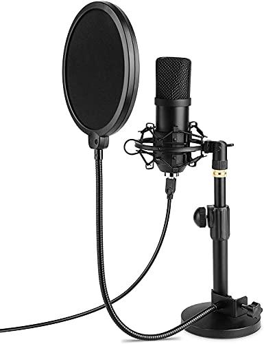 Micrófono USB, condensador para ordenador portátil, micrófono de grabación con soporte de mesa, profesional 192 KHZ / 24 bits cardioide, radio, micrófonos externos, Plug & Play