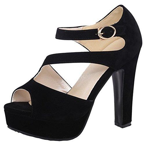 RAZAMAZA Mujer Correa Tobillo Zapatos Plataforma Peep