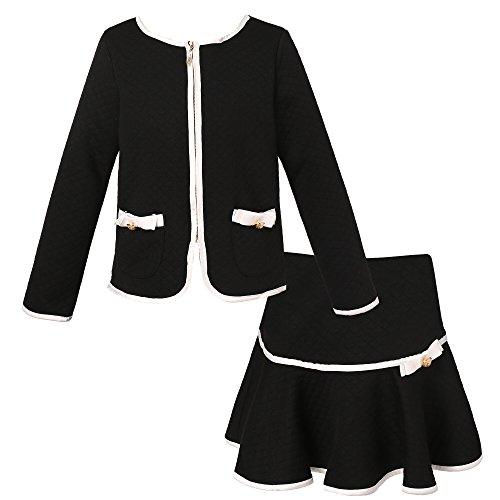 Richie House Girls' Elegant Knit Suit with Skirt RH1963-B-7/8 Black