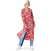 Marca Amazon - find. Vestido Midi Cruzado Mujer, Rojo (Red Mehrfarbig), 38, Label: S