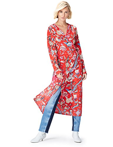 Amazon-Marke: find. Damen Midi-Wickelkleid, Rot(Red Mehrfarbig), 36, Label: S