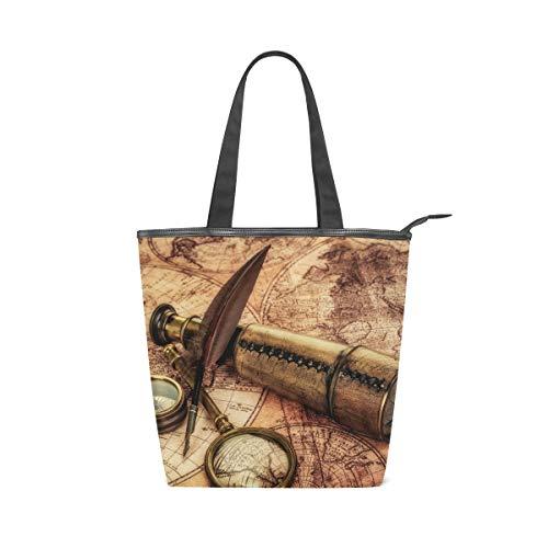 XiangHeFu Damen Handtaschen Teleskop Kompass Lupe Old World Map Tote Canvas Schultertasche