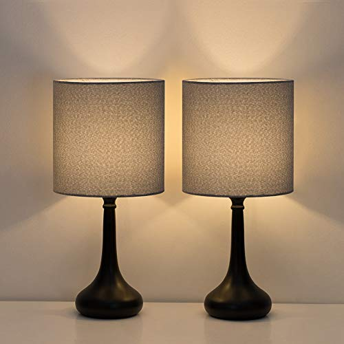 HAITRAL Small Table Lamps - Vintage Bedside Nightstand Lamps Set of 2 for Bedroom, Office, College Dorm with Metal Base & Fabric...