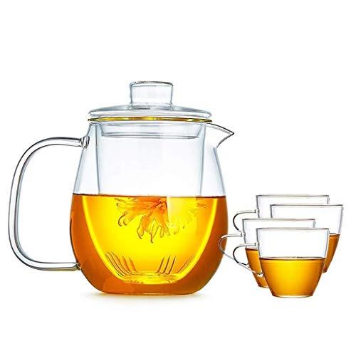 DX glas pitcher deksel, ijs theepot gemakkelijk schoon te maken gemakkelijk te drinken koffie koud water hete koffie etc. enz. glazen theepot (kleur: A)