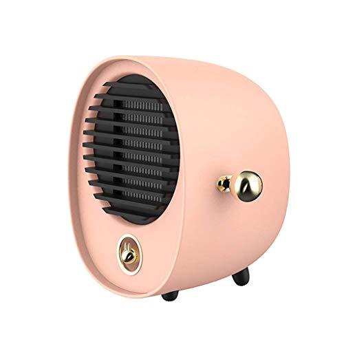 JPL Ventilador eléctrico para el hogar, mini calentador de ventilador de cerámica, calentador eléctrico de 500 W con calor rápido, protección contra vuelcos, material ignífugo,Rosa