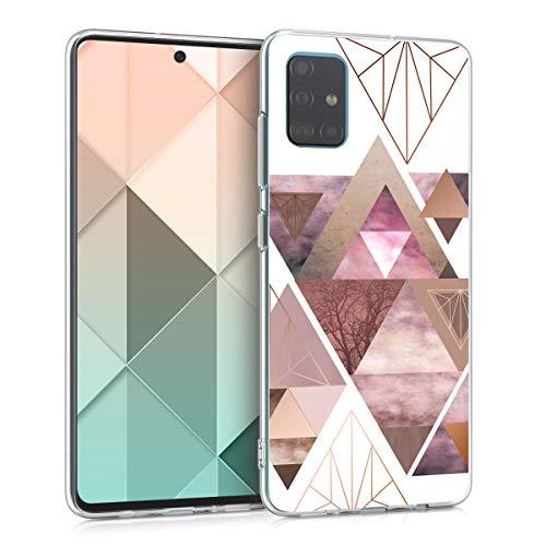 kwmobile Hülle kompatibel mit Samsung Galaxy A51 - Handyhülle - Handy Hülle Glory Dreieck Muster Rosa Rosegold Weiß