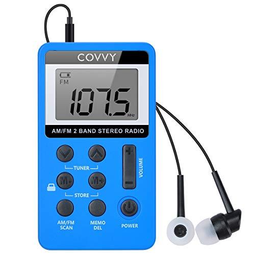 Radio de bolsillo FM Covvy portátil Digital Tuning AM/FM Mini reproductor de radio estéreo con batería recargable y auriculares para paseo al aire libre (azul)