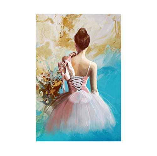 Rongrongyue Elegante Balletttänzer Poster Leinwand Malerei und Drucke Stil Mädchen Porträt Schuhe Wandkunst Bilder Wohnkultur Ölfarbe 60x80cm Kein Rahmen