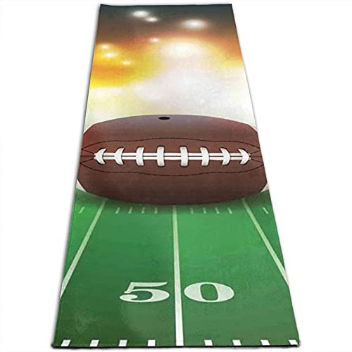 Estera de yoga con estampado de balón de fútbol americano en la hierba de 5 mm de grosor, antideslizante, para todo tipo de yoga, pilates y ejercicios de suelo (180 cm x 61 cm x 0,5 cm)