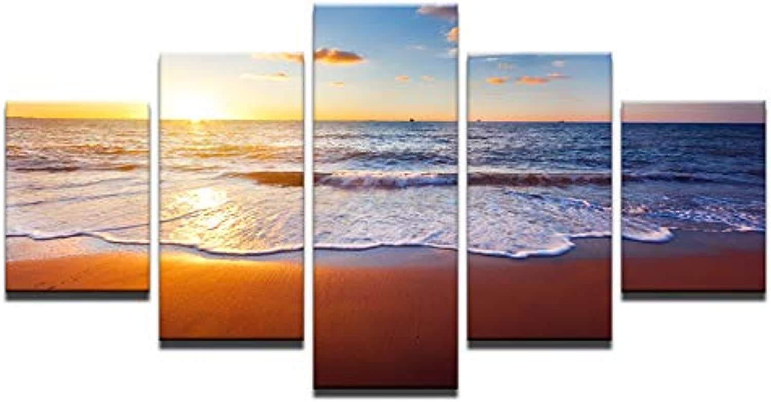 Canvas Paintings Wall Art HD Prints Living Room Framework 5 Pieces Beach Sea Waves Pictures Sunrise Seascape Posters Home Decor