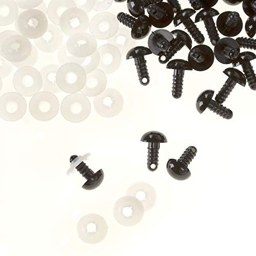 Darice 50 Piece 12mm Solid Eyes with Washer Buttons, Black