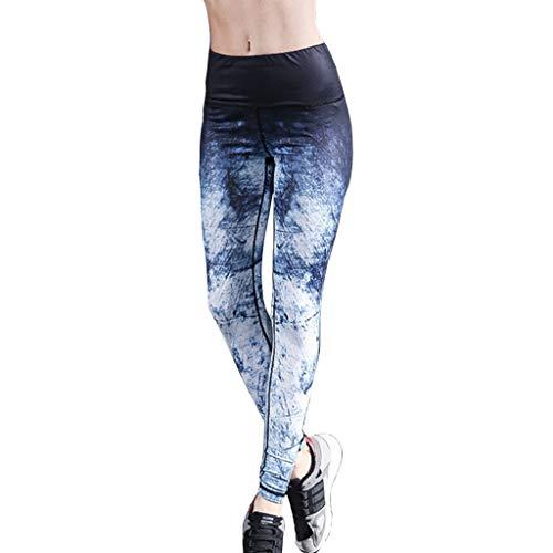 Leggins para mujer Leggins Para Mujer Cintura Alta ,Nuevos Pantalones De Yoga Azules De Moda Para Mujer, Mallas De Mujer Absorbentes De Sudor Transpirables De Alta Elasticidad ( Color : Blue-7-M )