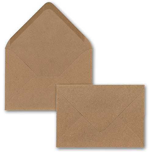 50 x Kraftpapier Umschläge DIN C5 Braun - 22,5 x 15,7 cm ohne Fenster 120 g/m² - Vintage Briefumschläge mit Nassklebung Spitzklappe