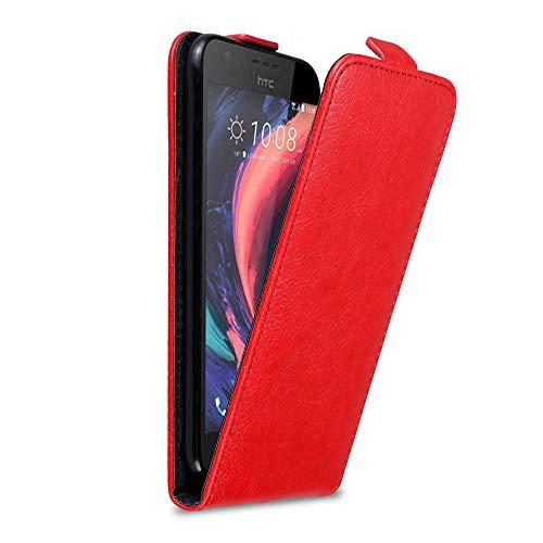 Cadorabo Hülle für HTC Desire 10 Lifestyle/Desire 825 in Apfel ROT - Handyhülle im Flip Design mit Magnetverschluss - Hülle Cover Schutzhülle Etui Tasche Book Klapp Style