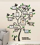 Albero Adesivo da Parete, Fai da te 3D Adesivi Murali Alberi e Famiglia Cornice per Foto Wall Stickers Con Arts Decorazioni per Camera da Letto Soggiorno Ufficio (M: 160 * 132cm,Verde)