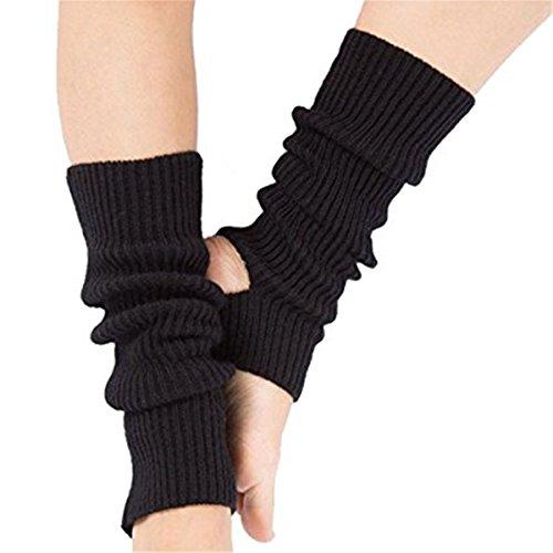 Kingsie ソックス ヨガ レデイース レッグ ウォーマー 靴下 ニット ヨガソックス 運動防護 防寒 指なし スポーツ かかと開き つま先開き (ブラック)