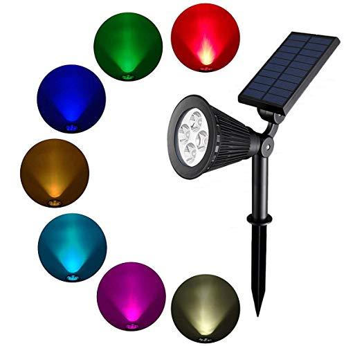 cfzc Solar Strahler IP 65Wasserdicht 7Farben ändern Solarleuchten 180Grad Winkel verstellbar Auto-On/aus für Garten, Outdoor, Rasen, Haustür, außen Wand usw. (Mehrfarbig)