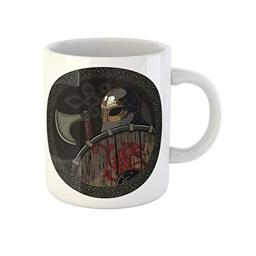 N\A affeebecher Odin Krieger Barbar Viking Berserker Axt und Schild Weiß Keramik Teetasse Becher Souvenir für Freunde der Familie Freunde Mitarbeiter