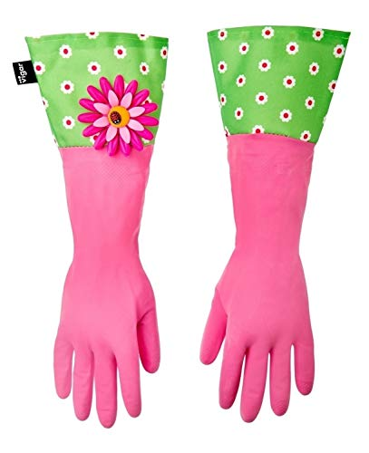 Vigar Pink Latex Gloves with Extended Flower Power Motif Cuff, 16-7/8-Inches Long