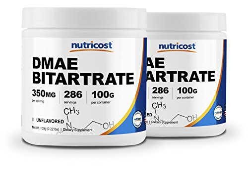 Nutricost Pure DMAE-Bitartrate Powder 100G (2 Bottles) by Nutricost