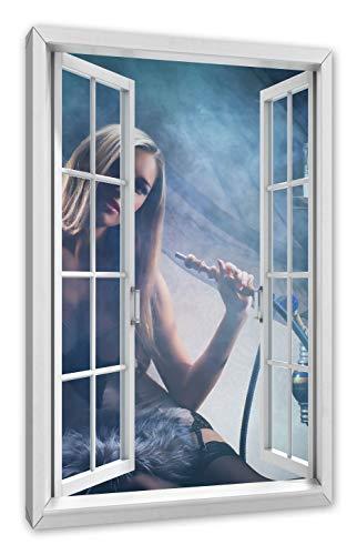 Pixxprint vrouw met shisha in de mist, ramen canvasfoto | muurschildering | kunstdruk hedendaags 100x70 cm