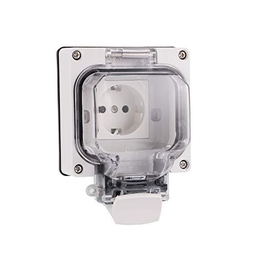 Tglabayun Tomacorriente tipo empotrado para exteriores IP67 Impermeable, interruptor de clip con acabado transparente, toma de corriente para uso industrial en piscinas de parques