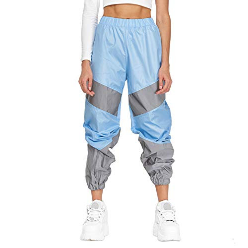Meijunter Pantalon de Jogging réfléchissant pour Femmes Pantalon de jonction à Bande réfléchissante Haute visibilité Pantalon à Pieds Lumineux Blue M