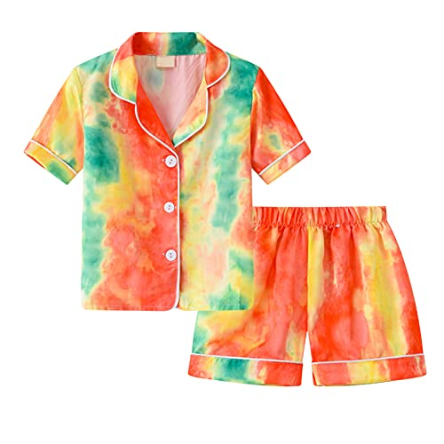 pigiama 9 anni Upxiang Due Pezzi Pigiama per Bambino Tie-Dye Pigiami Set