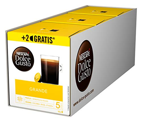 NESCAFÉ Dolce Gusto Grande Kaffee 54 Kaffeekapseln (100{af71bcf5cd88dceb974801840a041a1a4bf51da06265aabffca942266868e96a} Arabica Bohnen, Feine Crema und kräftiges Aroma, Schnelle Zubereitung, Aromaversiegelte Kapseln) 3er Pack (3 x 16 + 2 Kapseln)