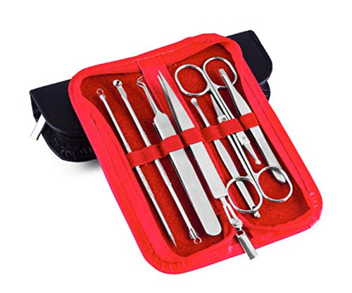Blackhead Remover Tool 8 Stks Kit,Spot Remover Tool, Acne Puistje Comedone Extractor voor gezichtsverzorging huidbescherming, Extractor Blackhead Remover Puistje Acne Treatment Kit(rood)