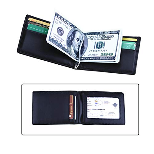 CXD Cartera para Hombre Western Bifold - Bloqueo RFID Cartera de Cuero Genuino Slim Cartera de Bolsillo Frontal con Clip de Dinero - Minimalista