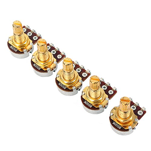 JOYKK 5Pieces B500k Potentiometer Splined Pot Elektrische Gitaar Bass Effect Toon Volume Onderdelen - Goud
