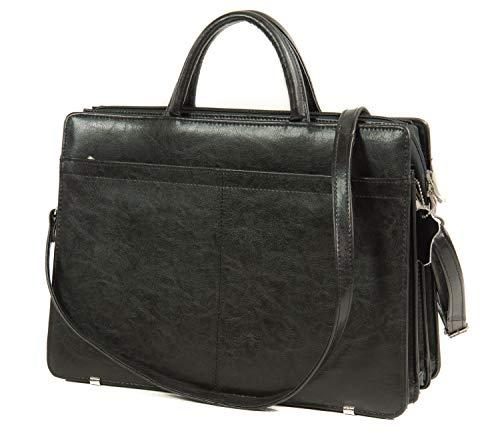 Women's Briefcase Leather Black Top Design Messenger Shoulder Bag Leather Laptop Bag