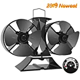 X-cosrack 8 Blades Heat Powered Stove Fan, Double Motor Fireplace Fan for Wood Log Burner Slient Eco-Frienly Fan with Magnetic Thermometer Aluminium Black
