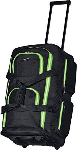 Olympia 8 Pocket Rolling Duffel Bag, Black/Lime, 22 inch