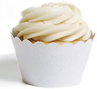 Dress My Cupcake Standard Reusable Glitter Cupcake Wrappers, Set of 50 (White)
