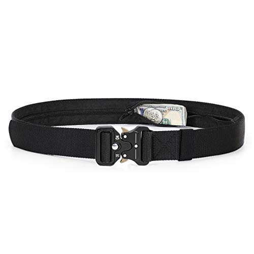 Military Money Belt Buckle Heavy Duty, Adjustable Nylon Jean Belt With Hidden Zipper