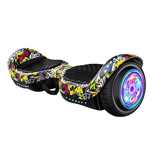 Scooter Autoequilibrado De 6.5, Patinetes Eléctricos Bluetooth, con Hermosas Luces Led, Ruedas Intermitentes, Regalo para Niños Y Adolescentes