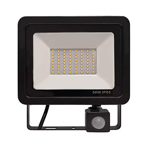 50W LED Fluter mit Bewegungsmelder 3 modi - LED Strahler IP65 wasserdicht Aluminium Scheinwerfer Licht - für Garten, Garage, Hof oder Hote, Kaltweiß