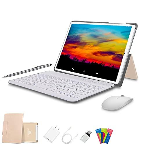 4G Tablet 10 Pollici con Wifi Offerte Android 10.0 Tablet PC 4GB RAM 64GB 128GB Espandibili 8000mAh Tablet in Offerta Dual SIM 8MP Fotocamera Tablet Android Bluetooth OTG(oro)