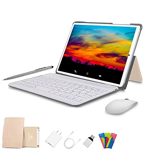 Tablet 10 Pulgadas 4G FHD 64GB de ROM 4GB de RAM Android 10.0 Certificado por Google GMS Tablet PC Baratas Quad Core Tableta Batería 8000mAh Dual SIM 8MP Cámara WiFi,Bluetooth,GPS,OTG(Oro)