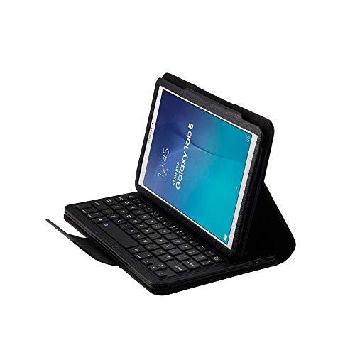 Xixihaha Tragbar Drahtlose Bluetooth-Tastatur für Galaxie-Tab E 9.6 Hülle für Galaxie-Tab E 9,6 T560 Tablet-Flip-Leder-Stand-Cover (Color : Black)