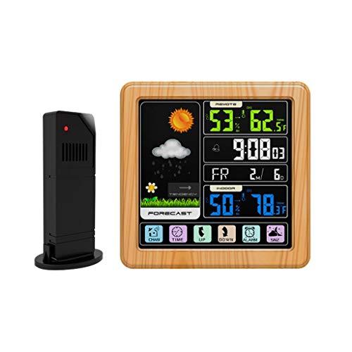 XF-B Pantalla Táctil Digital LCD Estación Meteorológica Higrómetro Termómetro Reloj Despertador (Color : Yellow)