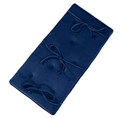 Navy Blue Velvet Piano Bench Cushion 14' x 30' Tufted Bench Pad with Ties