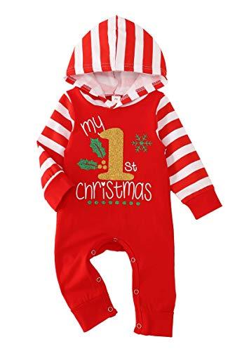 Wexuua My First Christmas Baby Boy Girl Outfit śpioszki body z kapeluszem One-Piece Jumpsuit, czerwony, 6-12 Miesiące