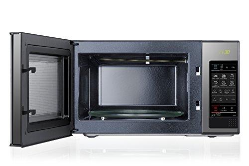 Samsung GE83X/XEC - Microondas con grill, 800 W/1100W, 23 litros, 6 niveles de potencia, interior cerámico para mayor facilidad en la limpieza, color acero espejo
