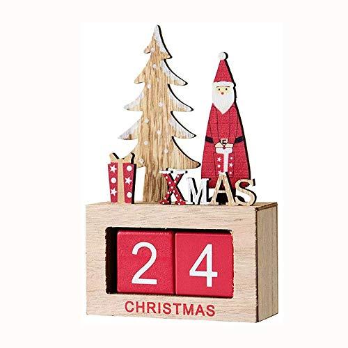 WNN-URG Holz Weihnachten Countdown Kalender Kabinett, Kalender Building Block Spielzeug, Weihnachts Desktop-Ornamente, Geeignet for Kinder Mädchen URG (Color : A)