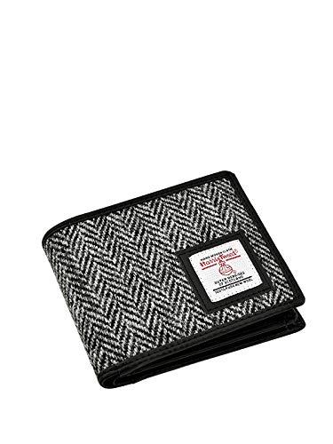 TARTAN TWEEDS Harris Tweed Herren Geldbörse dreifach gefaltet mit Geschenkbox, Schwarz-weißes...