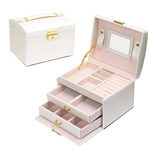 JOJJJOJ Jewellery Box Jewellery Oganiser Three Layers PU Leather Jewelry...